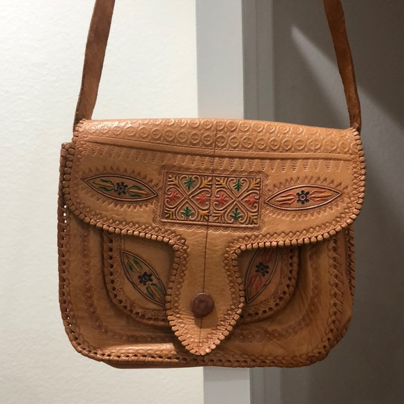 Vintage Handbags - Vintage Moroccan Leather Purse